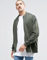 Asos Oversized Jersey Bomber Jacket In Khaki