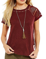 Miss Me Crochet-Sleeve Chiffon-Back Top