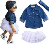 Aliven Baby Girl Denim Tops Shirt + Tutu Skirts + Headband 3pcs Outfits Clothes Set