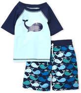 Floatimini Toddler Boys) Two-Piece Raglan Whale Rash Guard & Board Shorts Set
