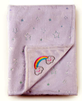 Tadpoles Rainbow Embroidered Double Layer Plush Baby Blanket Bedding
