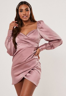 Missguided Blush Satin Sweetheart Neck Wrap Mini Dress