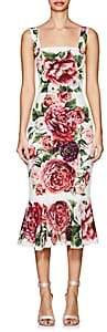 Dolce & Gabbana Women's Peony-Print Matte Stretch-Silk Flounce Dress - White