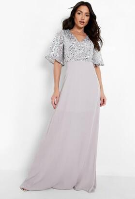 boohoo Bridesmaid Occasion Sequin Bodice Angel Maxi Dress