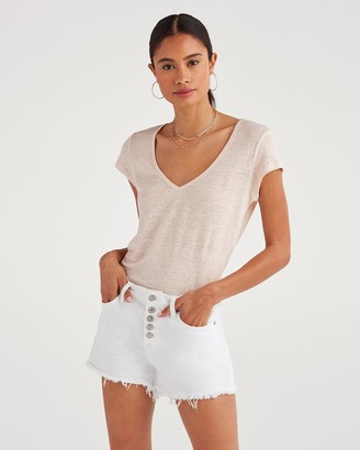 7 For All Mankind V-Neck Tee in Pink Sunrise