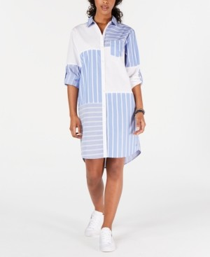 Tommy Hilfiger Patchwork-Print Shirtdress, Created for Macy's