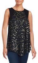 August Silk Sleeveless Embellished Asymmetric Top