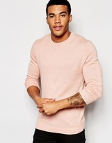 Asos Crew Neck Sweater in Pink Cotton