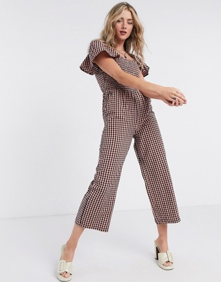 Topshop jumpsuit in gingham print