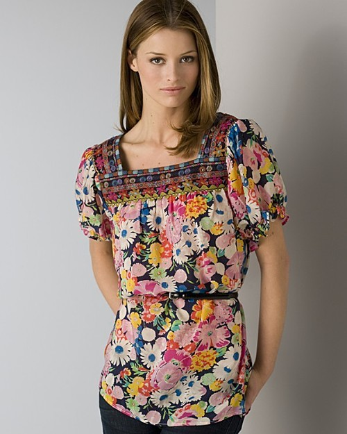 """Johnny Was Quotation Women's """"Maria"""" Short Sleeve Peasant Top"""