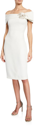 Badgley Mischka Off-the-Shoulder Short-Sleeve Sheath Dress w/ Flower Detail