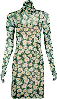 AFRM Mari Print Long Sleeve Turtleneck Mesh Body-Con Dress