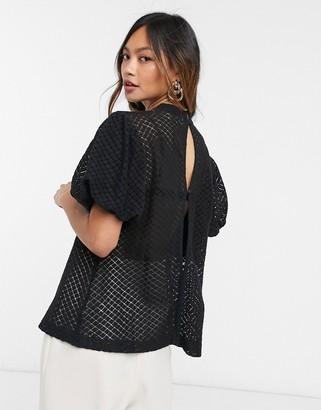 ELVI pontelle high neck blouse in black