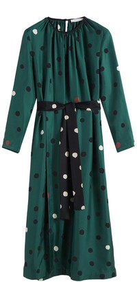 Chinti and Parker Green Painted Spot Silk Dress