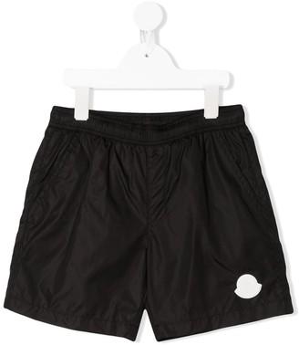 Moncler Enfant Logo Patch Swim Trunks