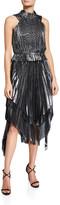 Flor Et. Al flor et.al Eve High-Neck Pleated Metallic Handkerchief Dress