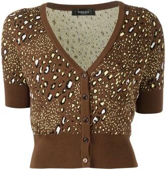 Versace leopard-print V-neck cardigan