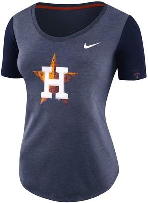 Nike Women's Navy Houston Astros Tri-Blend Scoop Neck T-Shirt