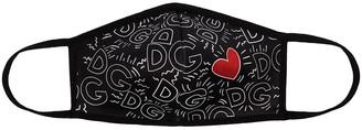 Dolce & Gabbana Heart Monogram-Print Face Mask