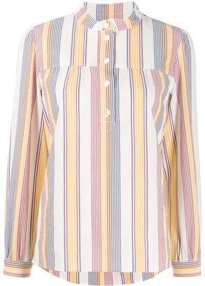 A.P.C. Band Collar Striped Shirt