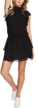 1 STATE Smocked-Neck Flutter-Sleeve Dress