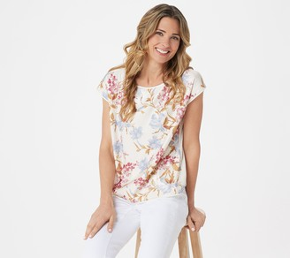 Vince Camuto Drop Shouler Wildflower Sequin Knit Back Blouse