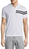 Moncler Side-Stripe Short-Sleeve Polo Shirt, White