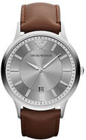 Emporio Armani Mens Silvertone Stainless Steel and Leather Watch