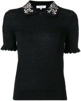 Carven embroidered collar polo top - women - Silk/Merino - XS