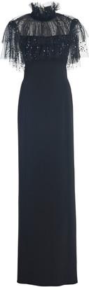 Jenny Packham Ruffle-Embellished Crepe Dress