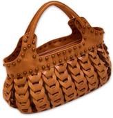 Woven Handbag with Stud Details