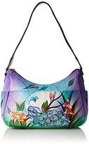 Anuschka Handpainted Leather Twin Top East West Hobo Midnight Peacock