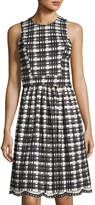 Neiman Marcus Checked-Print Fit & Flare Dress