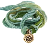 Catherine Michiels Secret Rose Bronze Charm & Silk Bracelet Wrap