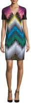 Missoni Short-Sleeve V-Neck Sheath Dress, Black/Multi