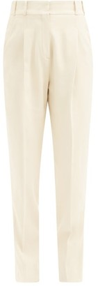 Another Tomorrow - High-rise Twill Slim Trousers - Womens - Cream