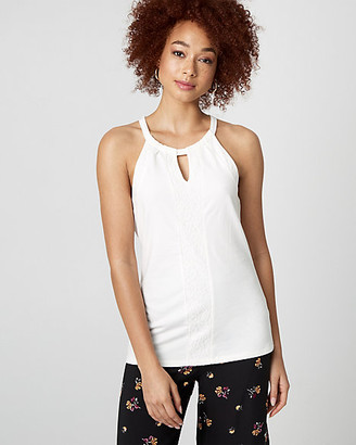 Le Château Cotton Blend & Lace Halter Blouse