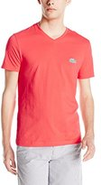 Lacoste Men's Short Sleeve Jersey Regular Fit V Neck Caviar Croc T-Shirt