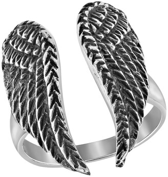 Aeravida Handmade Heavenly Angelic Wings Open-Ended Wrap Sterling Silver Band Ring