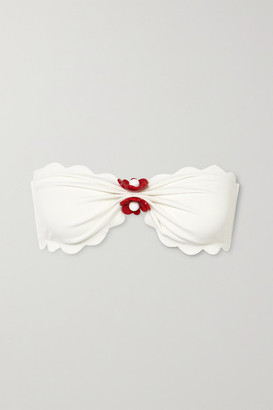 Marysia Swim Antibes Embellished Scalloped Stretch-crepe Bandeau Bikini Top - White