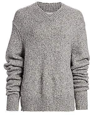 Helmut Lang Women's Brushed Wool & Alpaca-Blend V-Neck Drop-Sleeve Sweater