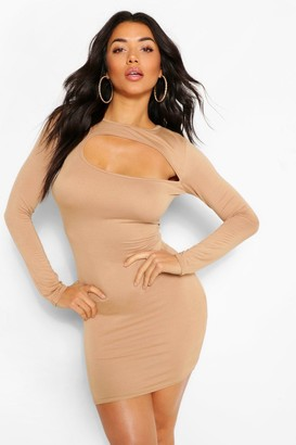 boohoo Slash Neck Long Sleeve Bodycon Mini Dress