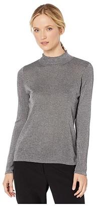 Vince Camuto Long Sleeve Lurex Mock Neck Sweater (Medium Heather Grey) Women's Sweater