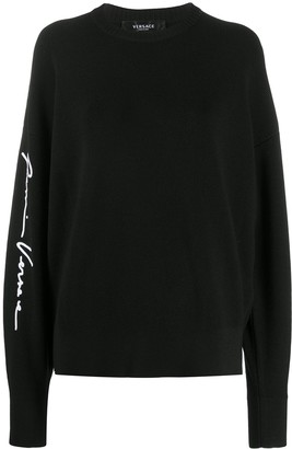 Versace Logo Print Wool Jumper