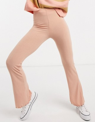 Miss Selfridge ribbed flared trousers in pink