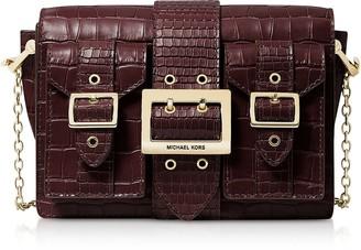 Michael Kors Hayden Medium Crocodile-embossed Leather Messenger Bag