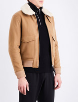 Sandro Shearling collar wool-blend jacket
