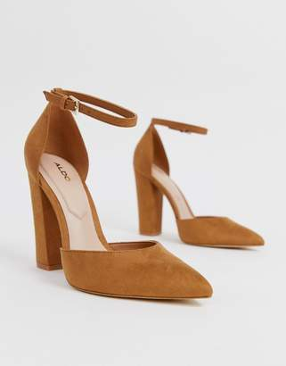 Aldo Nicholes heeled pumps with ankle strap in brown