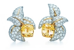 Jean Schlumberger Five Leaves yellow sapphire ear clips