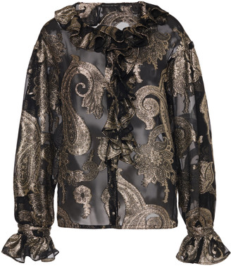 Etro Ruffled Silk-Blend Fil Coupe Blouse